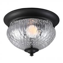 Sea Gull 7826401-12 - Garfield Park One Light Outdoor Ceiling Flush Mount in Black with Clear Glass