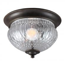 Sea Gull 7826401BLE-780 - Fluorescent Garfield Park One Light Outdoor Ceiling Flush Mount in Burled Iron with Clear Glass
