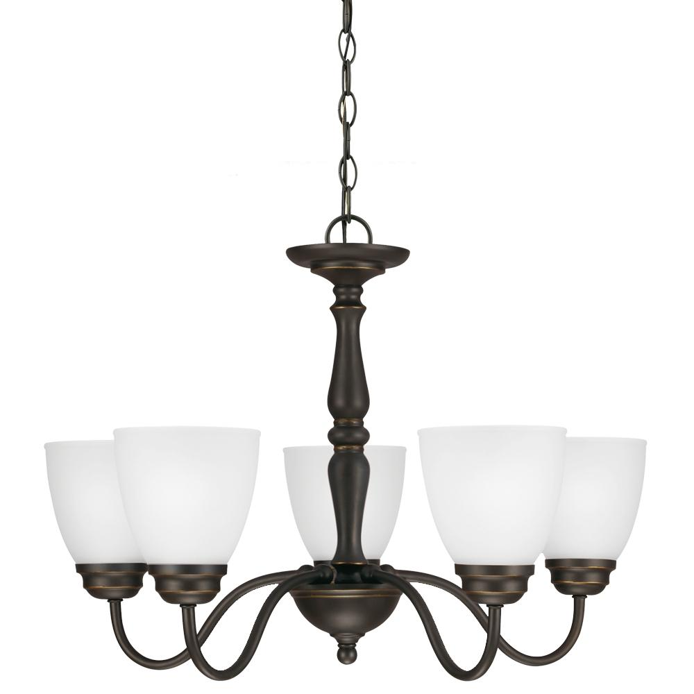 Northbrook Five Light Chandelier in Roman Bronze with Satin Etched Glass