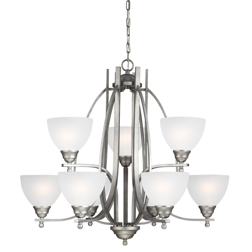Vitelli Nine Light Chandelier in Weathered Pewter with Satin Etched Glass