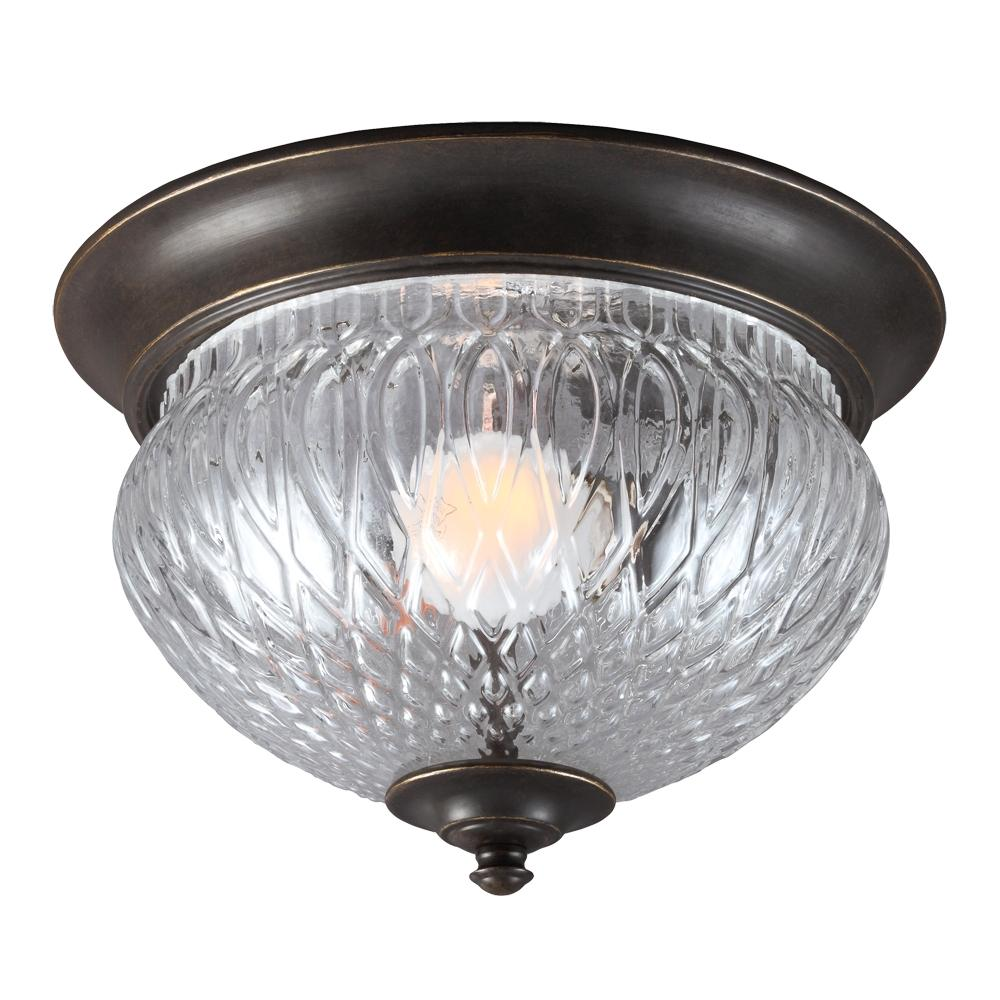 Garfield Park One Light Outdoor Ceiling Flush Mount in Burled Iron with Clear Glass