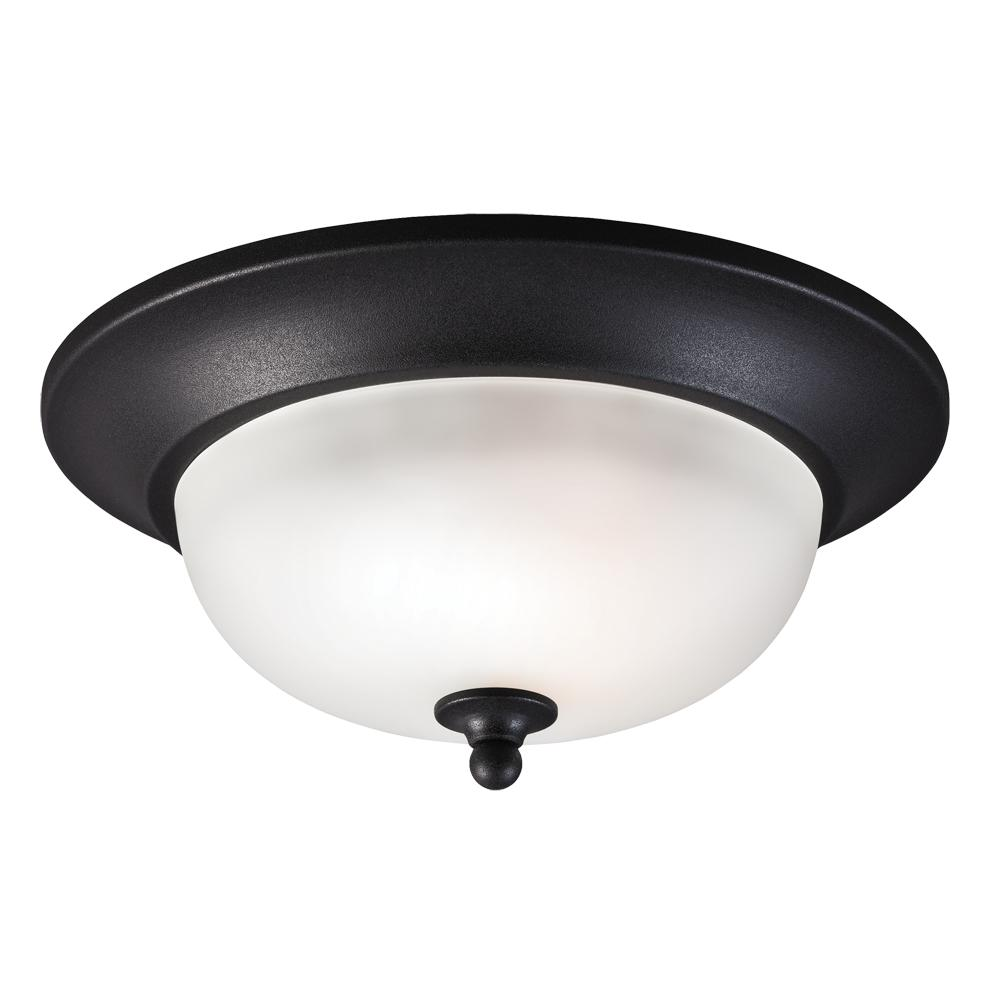 Fluorescent Humboldt Park One Light Outdoor Ceiling Flush Mount in Black with Satin Etched Glass