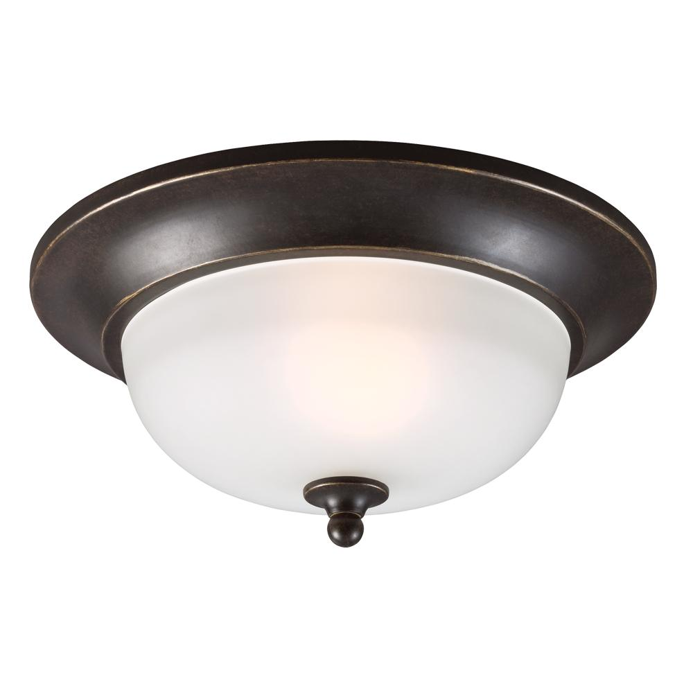 Fluorescent Humboldt Park One Light Outdoor Ceiling Flush Mount in Burled Iron with Satin Etched Gla