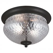Sea Gull 7826402-12 - Garfield Park Two Light Outdoor Ceiling Flush Mount in Black with Clear Glass