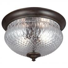Sea Gull 7826402-780 - Garfield Park Two Light Outdoor Ceiling Flush Mount in Burled Iron with Clear Glass