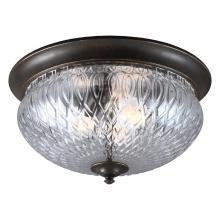 Sea Gull 7826403BLE-780 - Fluorescent Garfield Park Three Light Outdoor Ceiling Flush Mount in Burled Iron with Clear Glass