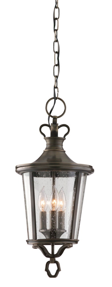 Three Light English Bronze Hanging Lantern